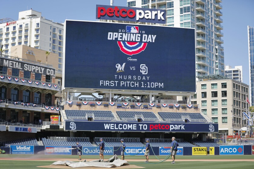 The field at Petco Park is being readied for the opening of the 2018 season.