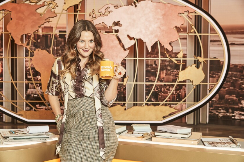 Drew Barrymore on the set of her show.