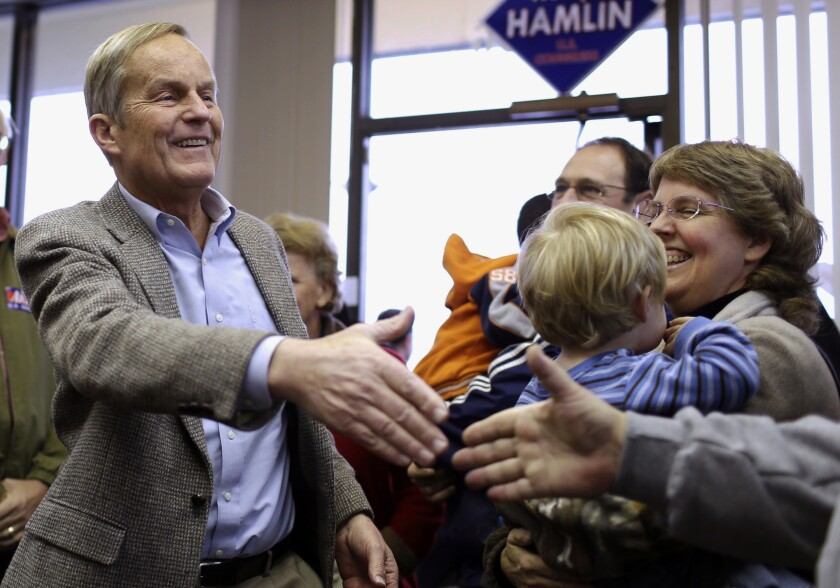 Then-Senate candidate Todd Akin shaking hands at campaign event