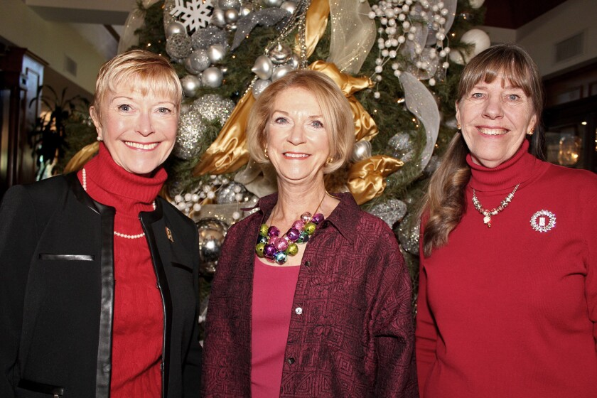 All comers were well-greeted at the Oakmont Country Club by the Soroptimist greeting committee made up of, from left, Sue Wilder, Joan Allan and Margo Bottcher.