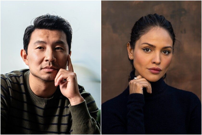 A split image of a man posing in a green sweater and a woman posing in a black turtleneck