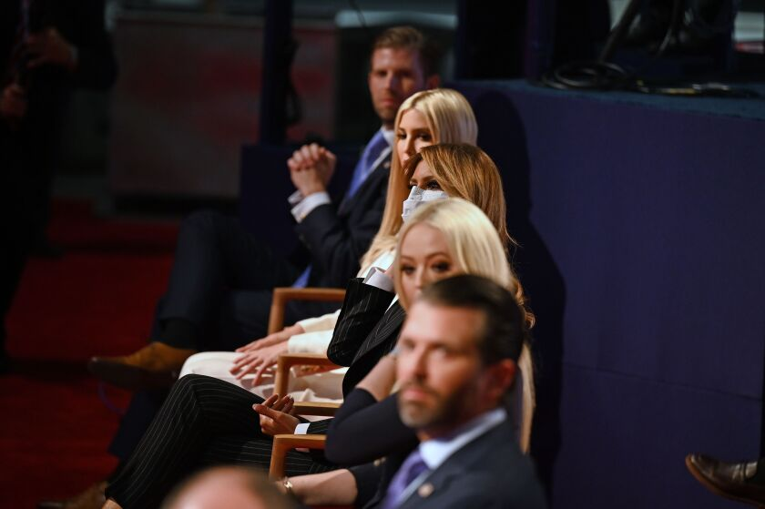 Members of President Trump's family sit in the audience before the first presidential debate in Cleveland, Ohio, on Sept. 29.