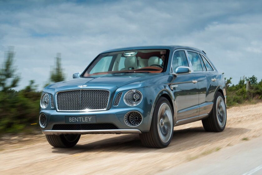 This concept SUV from Bentley may preview what the production vehicle will look like. The luxury automaker confirmed it would put an SUV on sale in 2016.