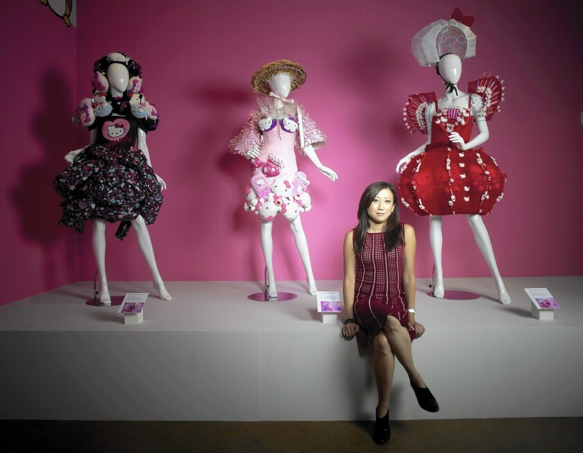 Janet Hsu, an executive with Sanrio's North American arm, shown at the Hello Kitty exhibition in Little Tokyo, says the brand must keep evolving.