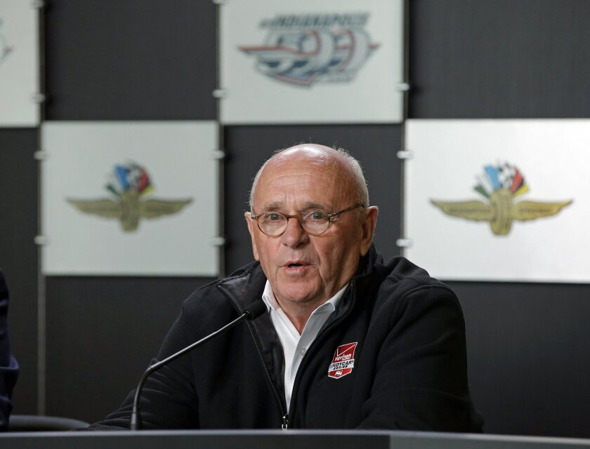 FILE - In this May 21, 2015, file photo, Derrick Walker, President of operations and competition of IndyCar, speaks during a news conference at Indianapolis Motor Speedway in Indianapolis. Derrick Walker has resigned, effective at the end of the season. Walker will stay on for the final three races, which ends Aug. 30, in Sonoma, California. Walker says the timing is right to move on to other opportunities after 2½ seasons on the job. (AP Photo/Darron Cummings, File)