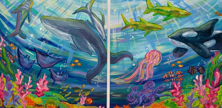 """The new Early Learning and Community Information Hub's mural called """"Fishies"""""""