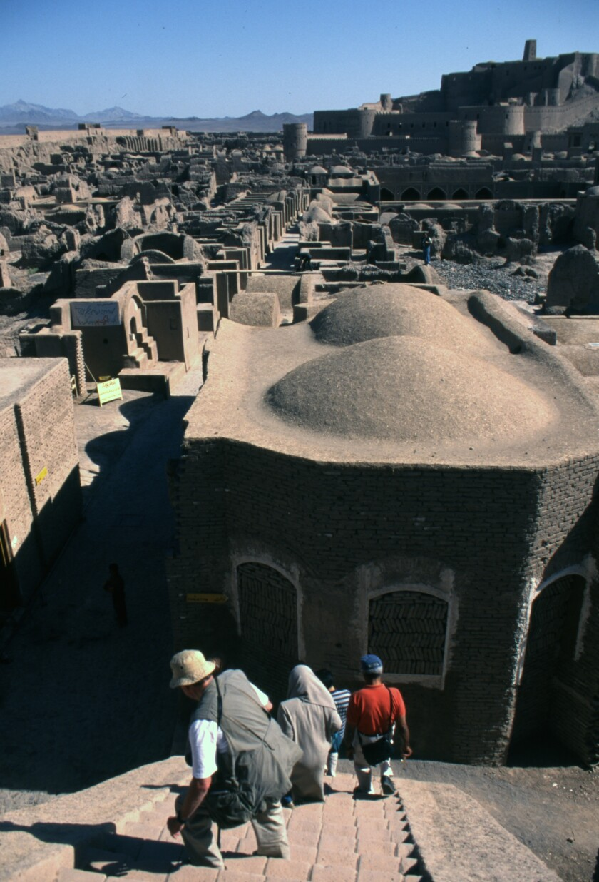 In the adobe Citadel of Bam, we had steep steps to descend. Iran, 1998.