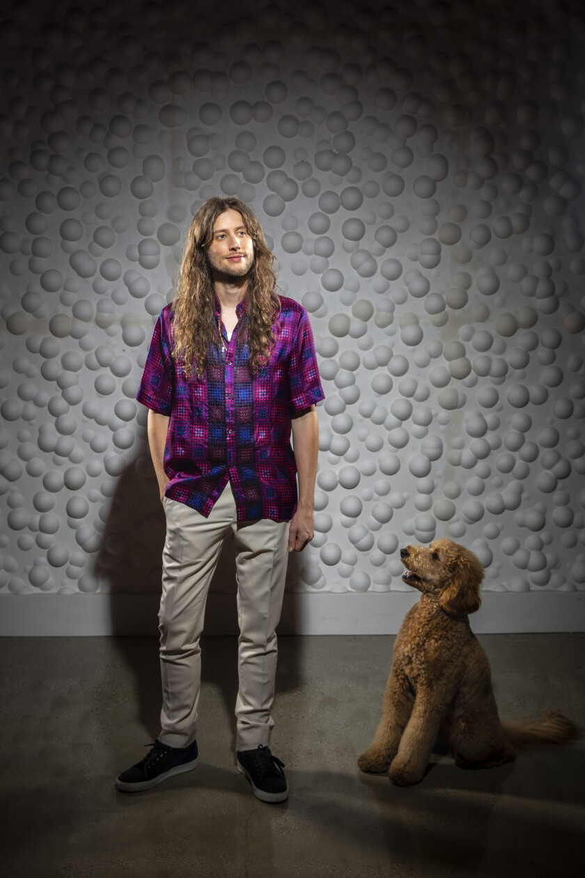 Ludwig Göransson with his goldendoodle, Barbara.