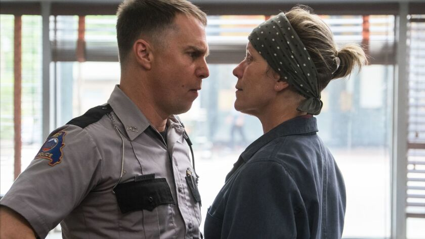 "SAG Award nominees Sam Rockwell and Frances McDormand in ""Three Billboards Outside Ebbing, Missouri."""