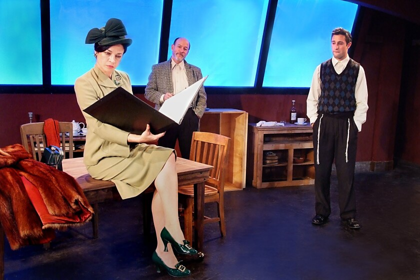 "An aspiring painter (Jason Karasev, right) must reconcile his Hasidic faith with the secular art world of a hard-nosed art dealer (Anna Khaja) and his mentor (Joel Polis) in ""My Name Is Asher Lev"" at the Fountain Theatre."