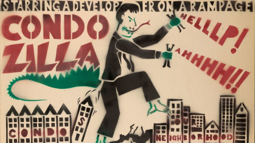 """Condozilla"" (detail), Josh MacPhee, stencil, 2000, Chicago."