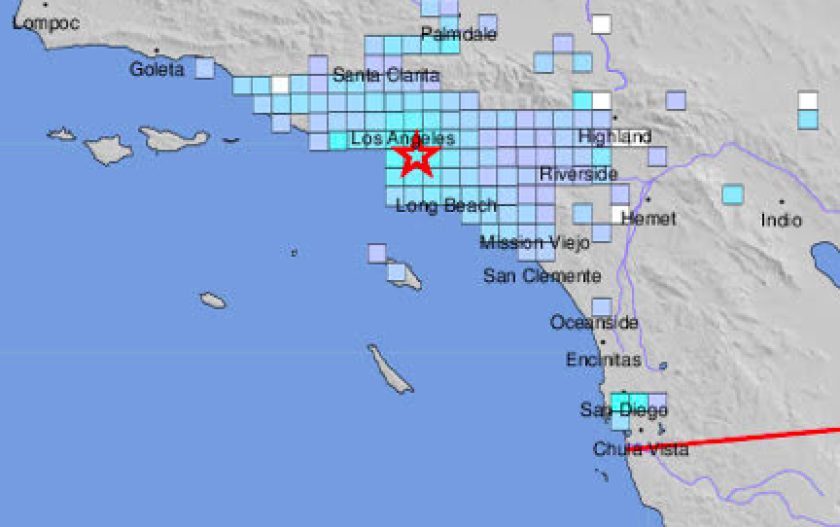 A 4.4 earthquake in the Los Angeles area Monday was felt in San Diego