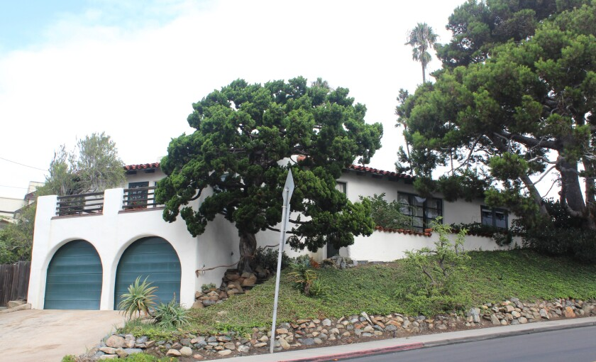 The historically designated Cliff May-designed house at 6004 Avenida Cresta in La Jolla's Lower Hermosa.
