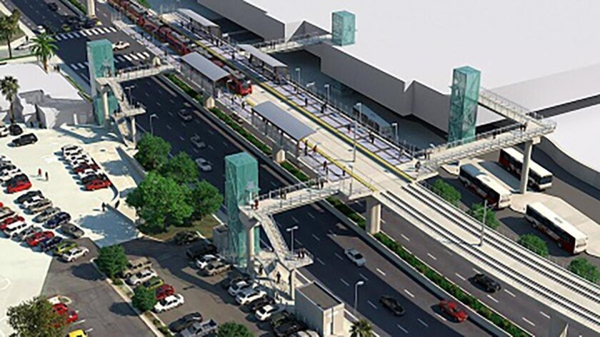 Rendering of the UTC Transit Center. With the Mid-Coast Trolley, SANDAG officials said riders will be able to travel from UTC to the Mexican border on the same train in about 30-40 minutes.