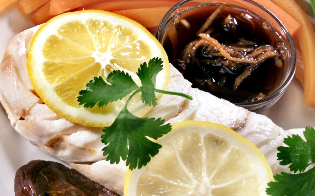 Steamed halibut with ginger sauce