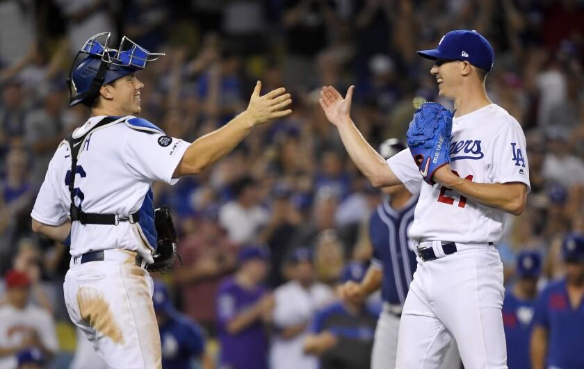 Dodgers starter Walker Buehler delivers during the first inning.