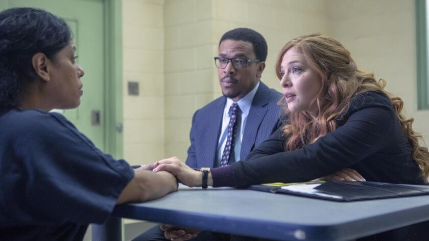 PROVEN INNOCENT: L-R: Guest star Liza Colón-Zayas, Russell Hornsby and Rachelle Lefevre in PROVEN