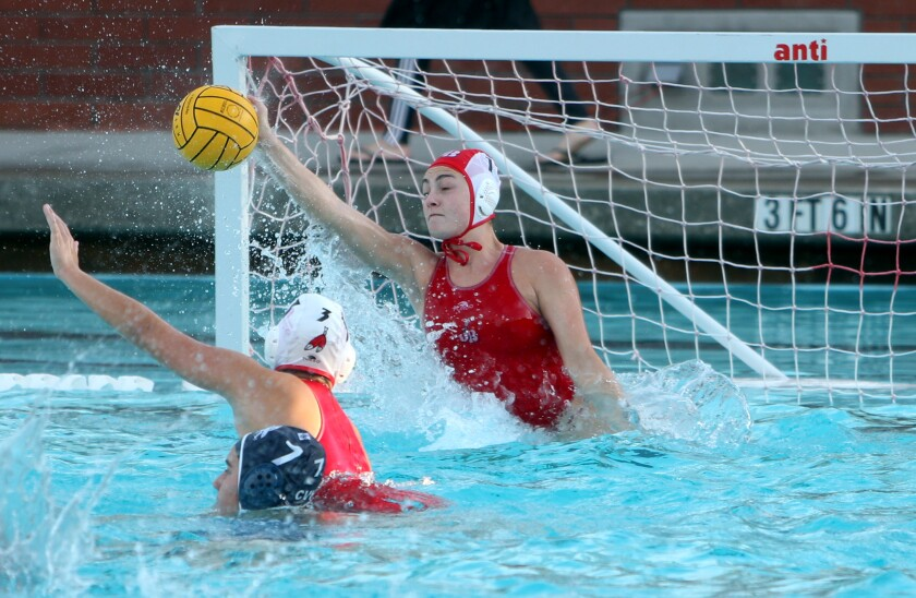 Burroughs High girls' water polo goalkeeper Ema Nathan was named the Pacific League Player of the Year.