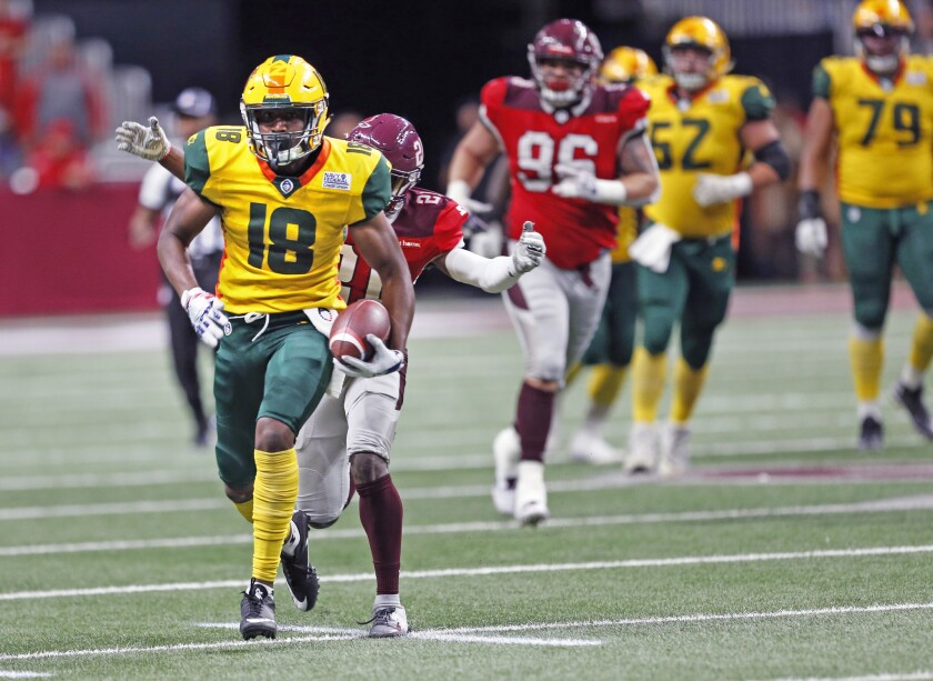 Arizona Hotshots' Marquis Bundy scrambles after a reception during an Alliance of American Football game against the San Antonio Commanders on March 31.