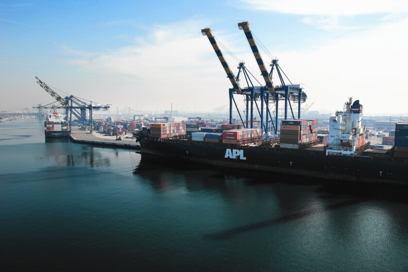 The Port of Los Angeles, above, and the neighboring port in Long Beach serve as the nation's premier gateway to Asia.
