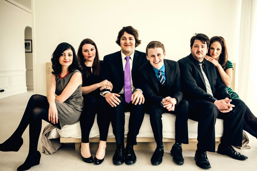 Left to right: Christine Tawfik, Rachel LaForce, Nick Rees, Adam Schreck, Paul Jurewicz and Lisa Barber of The Second City. (Tawfik and Jurewicz are not in the troupe's current show at La Jolla Playhouse, so forget we mentioned them.) Not pictured, but appearing in the show: Chucho Pérez and Jo Fel