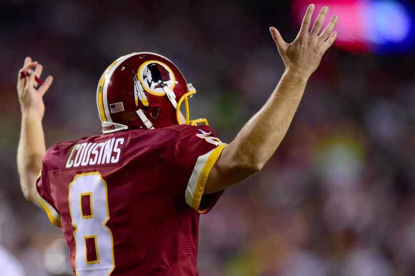 Quarterback Kirk Cousins during a game against the Seattle Seahawks at FedExField Landover, Md.