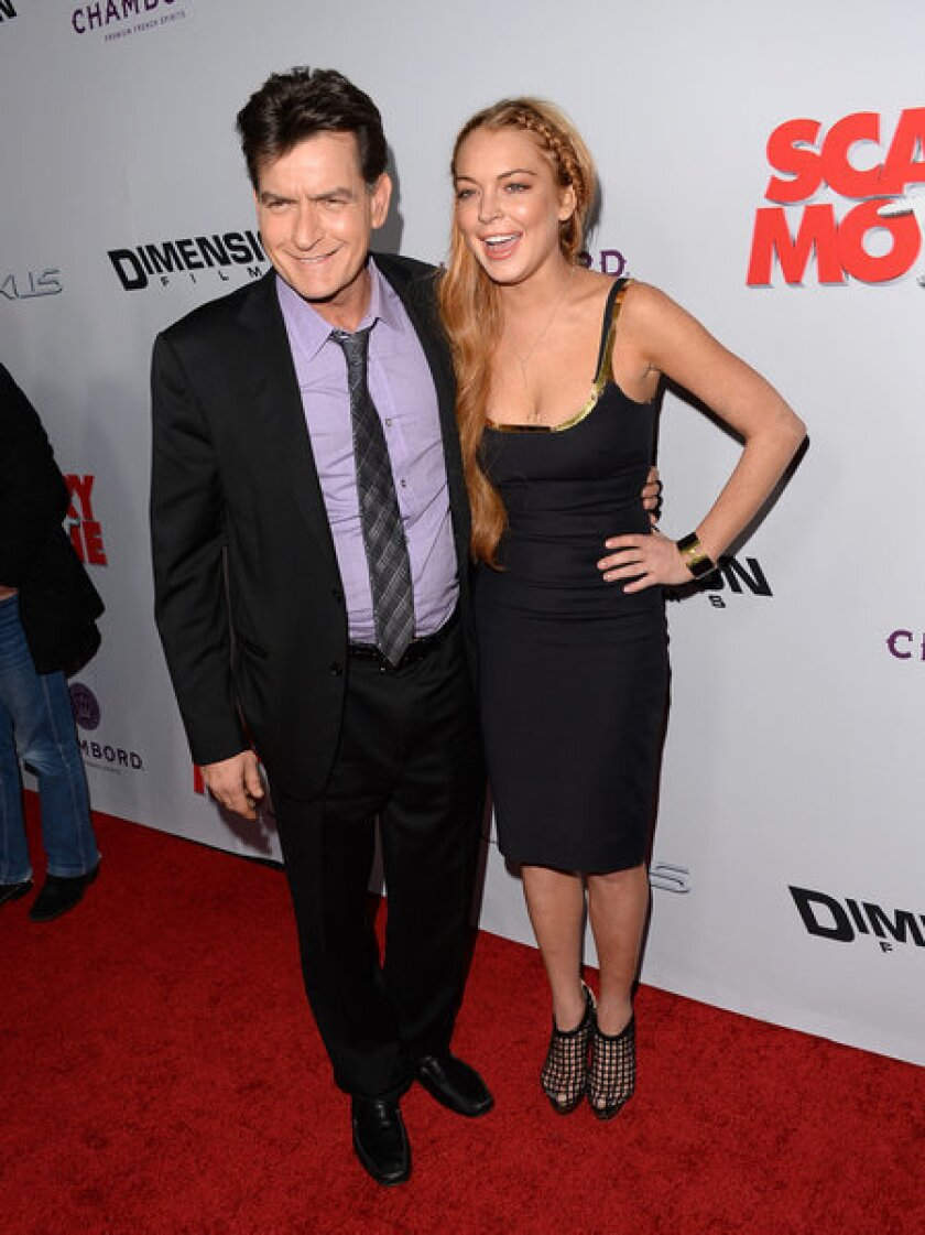 Lindsay Lohan Charlie Sheen At Scary Movie 5 Premiere Los Angeles Times