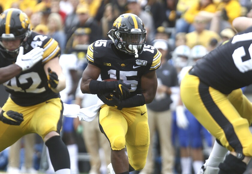 Iowa running back Tyler Goodson carries the ball against Middle Tennessee on Sept. 28.