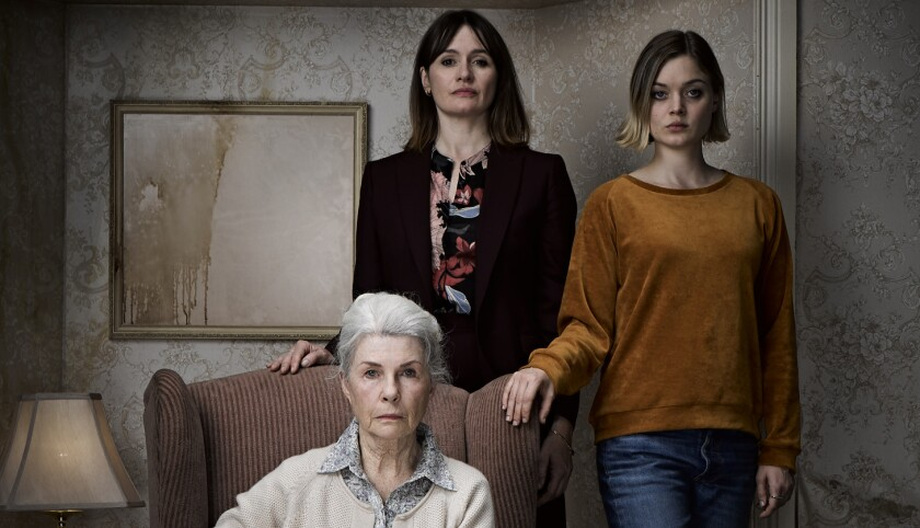 "Robyn Nevin as Edna, Emily Mortimer as Kay and Bella Heathcote as Sam in Natalie Erika James' ""Relic."""