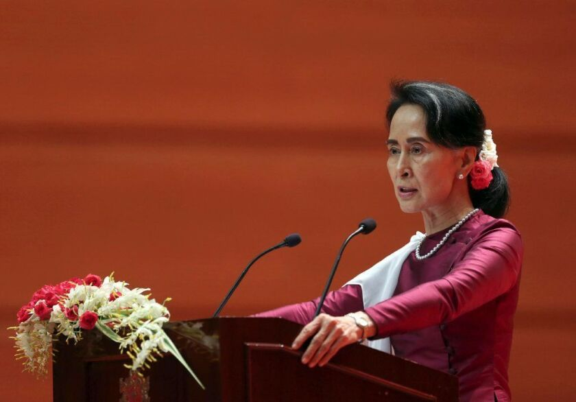 Aung San Suu Kyi delivers a televised speech to the nation at the Myanmar International Convention Center in Naypyidaw, Myanmar, on Sept. 19, 2017.