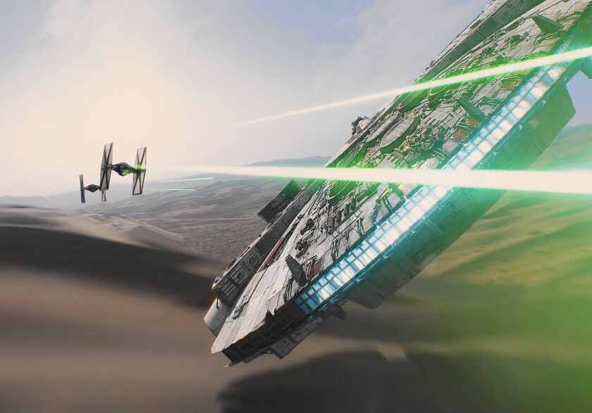 """The Millennium Falcon encounters TIE fighters in """"Star Wars: The Force Awakens."""" The film itself is unlikely to run into similar resistance at the box office. Hollywood hopes the blockbuster-to-be can awaken box office sales overall."""