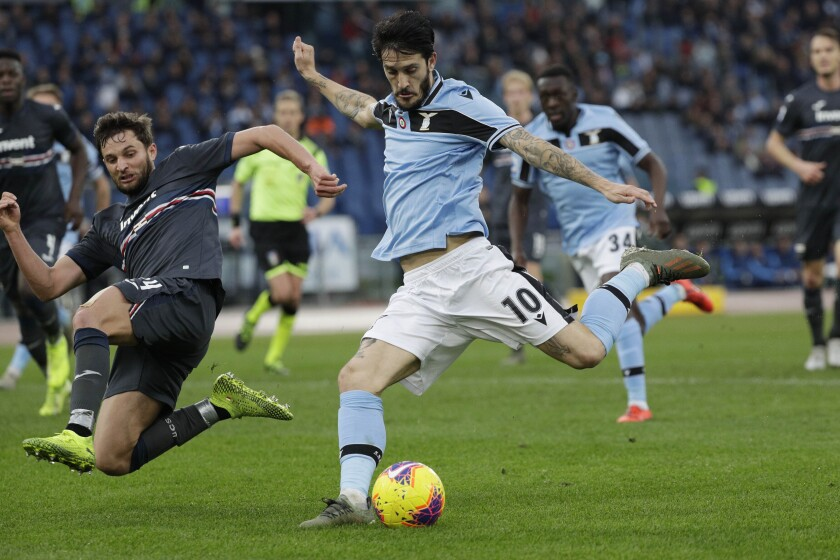 Lazio's Luis Alberto, right, and Sampdoria's Jakub Jankto fight for the ball during an Italian Serie A match on Jan. 18.