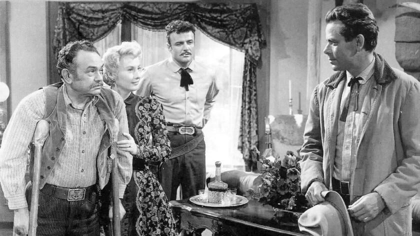 "Edward G. Robinson, Barbara Stanwyck, Brian Keith and Glenn Ford in ""The Violent Men."""