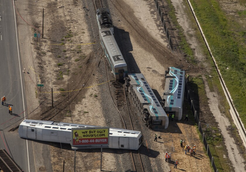 A Metrolink train derailed in Oxnard on Feb. 24, 2015, after colliding with a pickup truck on the tracks.