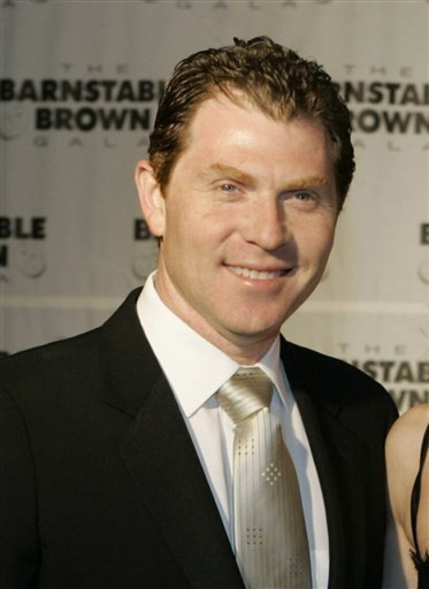 In this May 2, 2008 file photo Bobby Flay arrives at the Barnstable Brown Derby party in Louisville, Ky.  (AP Photo/Darron Cummings, file)