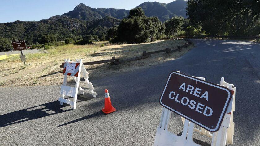 CALABASAS, CA-JUNE 25, 2018: A road leading to camping area at Malibu Creek State Park in Calabasas