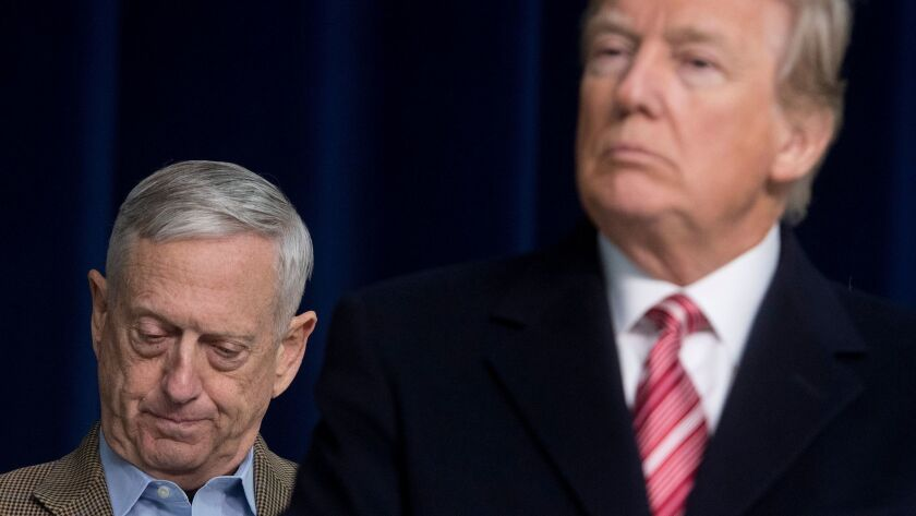 President Trump and Defense Secretary James N. Mattis on Jan. 6, 2018.