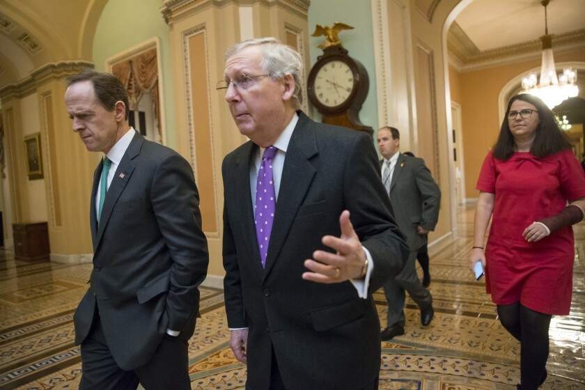 Senate Majority Leader Mitch McConnell, right, has said the next president should be the one to fill the Supreme Court vacancy left by the death of Antonin Scalia.