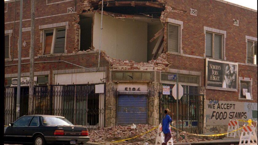 QK.Adams#3.IS.1/21.BAdly damaged building at corner of 5200 block of Adams Blvd in Crenshaw district