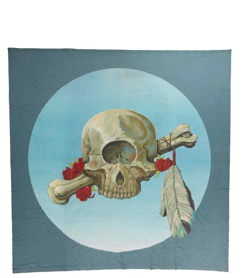 A painting of a skull with a red rose, feather and a bone running through it