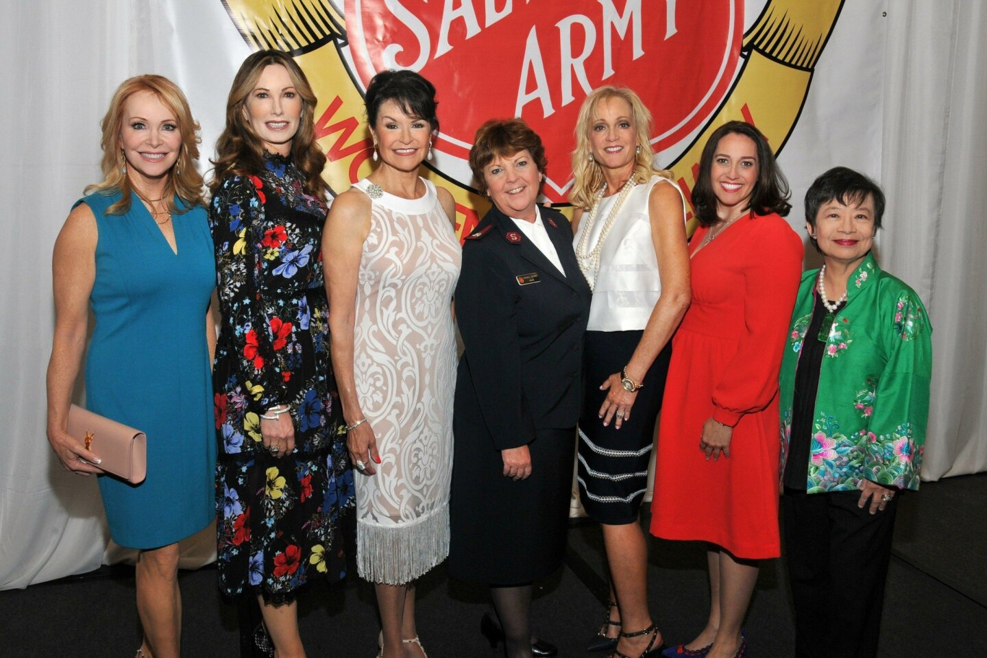 Sandra Maas (honoree), Valerie Cooper (honoree), Arlene Esgate (honoree), Maj. Michele Lescano (Divisional Director of Women's Ministries, Sierra Del Mar Division), Lise Wilson (honoree), Rachel Peniche (honoree), Dr. Lilly Cheng (honoree). Photos by Vincent Andrunas