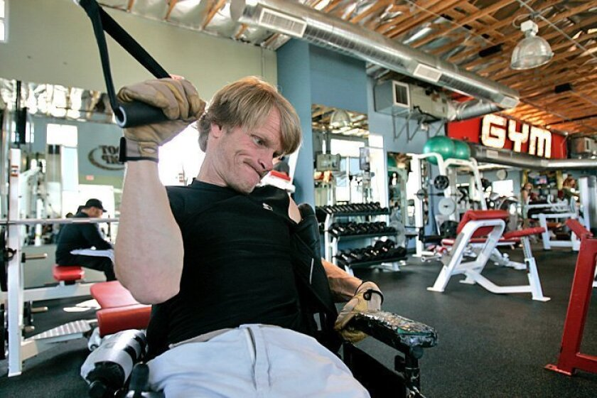 Stephen Wampler trains May 20 at Family Gym in Coronado for his ascent of El Capitan in Yosemite in September. Wampler intends to be the first person with cerebral palsy to complete the climb.