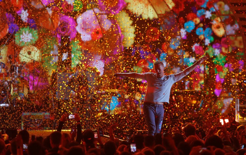 Coldplay lead singer Chris Martin performs during the iHeartRadio Music Festival at T-Mobile Arena in Las Vegas