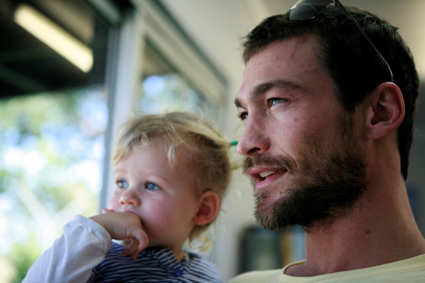 "A scene from the movie ""Be Here Now"" featuring Andy Whitfield and his daughter, Indigo."