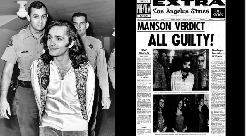 Left, Charles Manson is escorted by police during his murder trial. Right, a Los Angeles Times cover reports on the guilty verdicts.