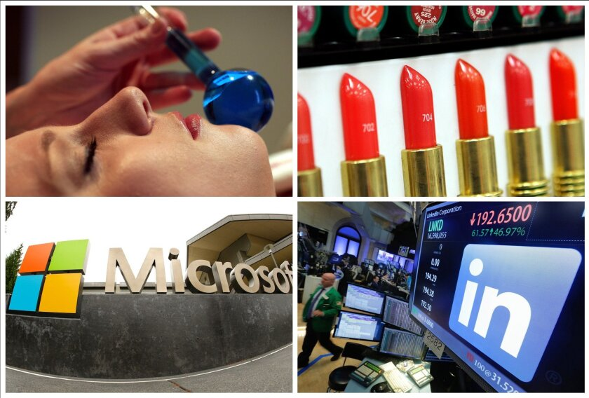 This photo combo shows, clockwise from upper left: a customer receiving a facial massage at an Elizabeth Arden Red Door Spa in New York; Revlon lipstick displayed at a Brooklyn pharmacy in New York; the LinkedIn logo on a screen at the post where it trades on the floor of the New York Stock Exchang