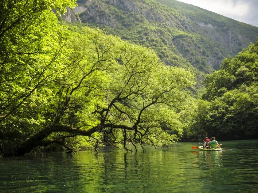 Kayakers on Matka Lake outside the Macedonian capital of Skopje.