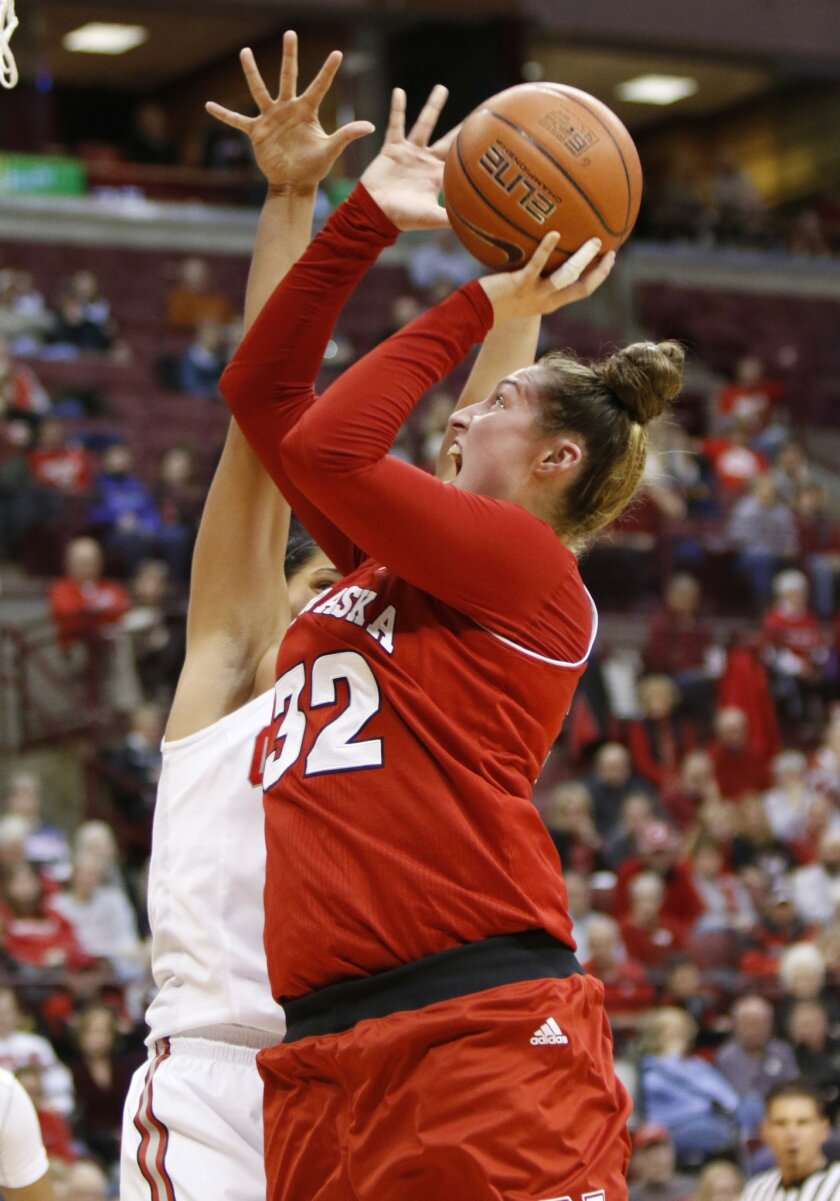 Nebraska's Jessica Shepard, right, goes up for a shot against Ohio State's Makayla Waterman during the first half of an NCAA college basketball game in Columbus, Ohio, Thursday, Feb. 18, 2016. (AP Photo/Paul Vernon)