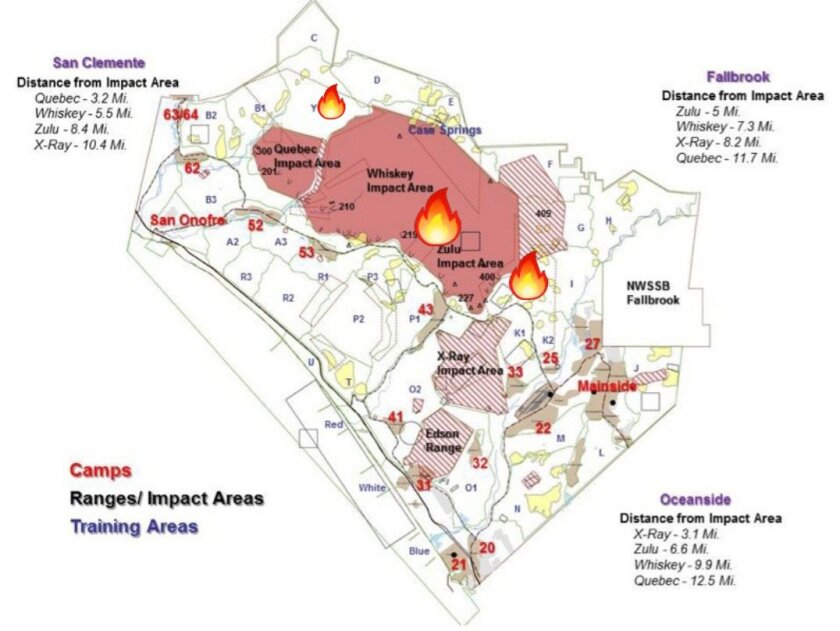 A map showing the location of three fires that were burning Wednesday on Camp Pendleton.