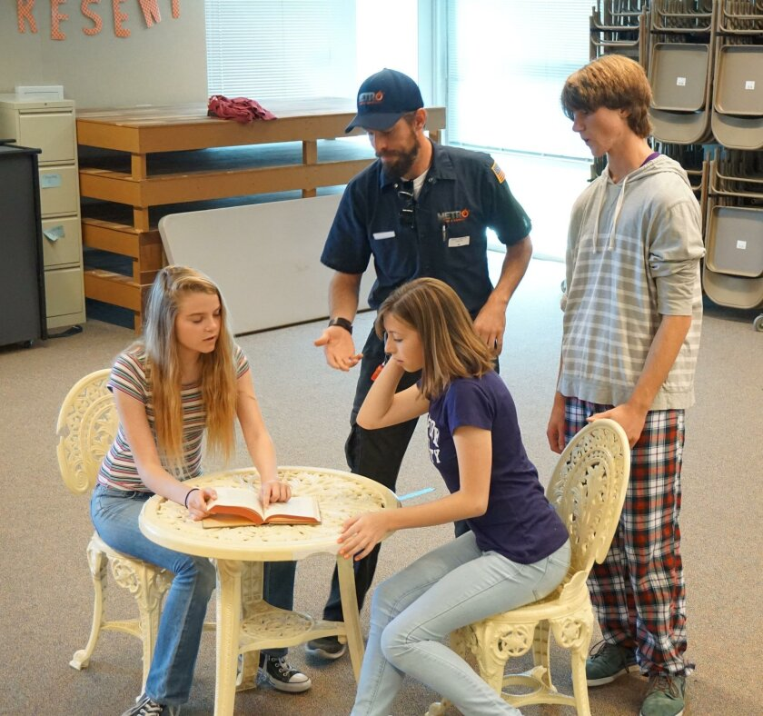 """Sage Creek High School drama students rehearse Shakespeare's """"As You Like It — A Musical Experience,"""" to be performed at the Carlsbad Cultural Arts Center."""